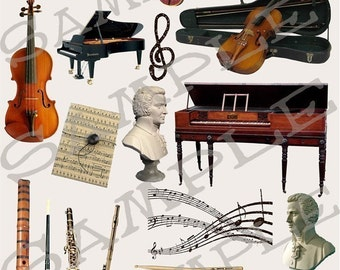 Musical Instruments Collage Sheet 1m