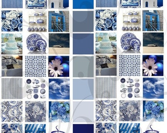 Blue and White 1 Inch Collage Sheet 1bwc