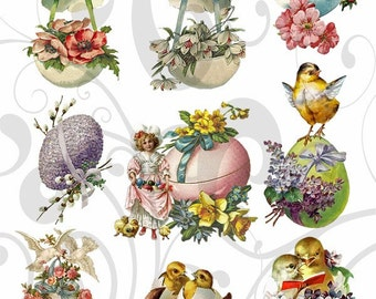 Old Cutz Easter Egg Collage Sheet 5ec Single PNG Images