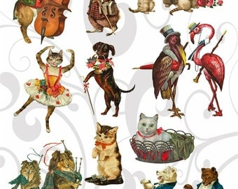 Musical Animals Collage Sheet