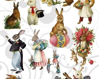 Olde Cutz Easter Rabbit Collage Sheet 1ocerc Single PNG Images and JPEG Sheet