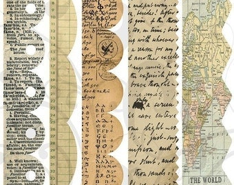 Old Paper Boarders collage sheet 1BC Single png Images and Jpeg Sheet