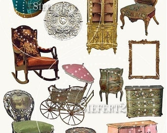 Antique Furniture Collage Sheet 11afc PNG Individual Images and Jpeg