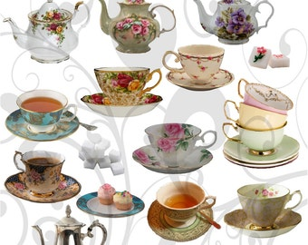 Teacups aand Saucers Collage Sheet 44tc Individual PNG Images and Jpeg Sheet
