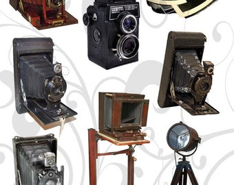 Vintage Cameras Png Collage sheet