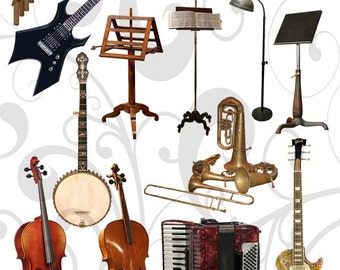 Musical Instruments  Collage Sheet 22ics  - Jpeg and PNG Sheet Instant download