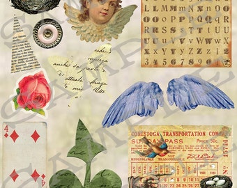 Vintage Atc Collage Sheet 5 A