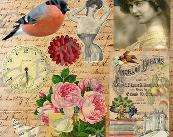 Vintage Atc Collage Sheet 7 A