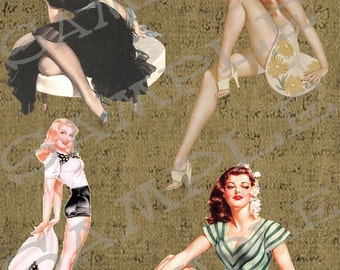 Vintage Women Atc Collage Sheet