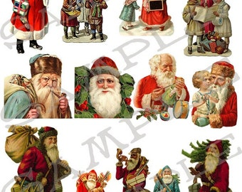 Santas Collage Sheet 1sc You will get a Jpeg Sheet and Individual Png Images