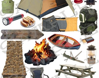 Camping Items Collage Sheet 1cc