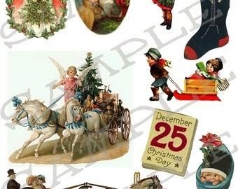 Christmas Holiday Collage Sheet 1ch You will get a JPEG Sheet and Individual Png Images