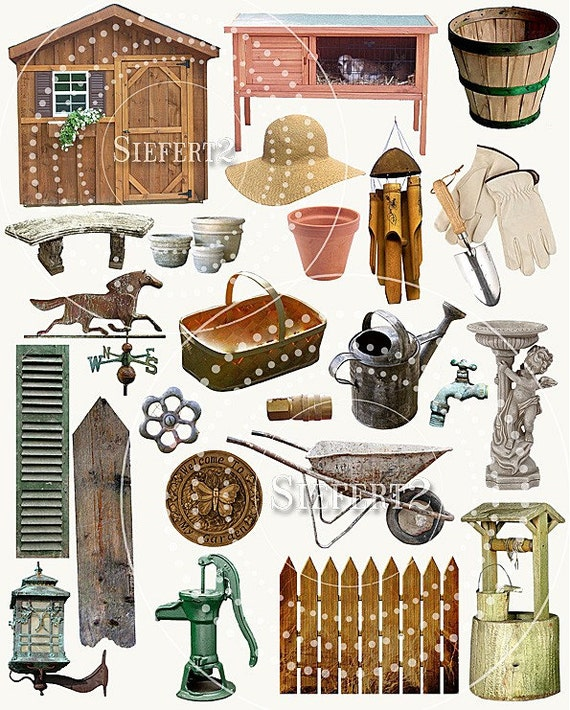 Gardening Collage Sheet 1gc And Seperate PNG Images