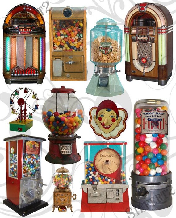 Jukeboxs and Gumball Machines Collage Sheet  JPEG Sheet and Individual Pngs