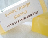 Sweet Orange Almond Glycerin Soap, 3.6 oz bar (Vegan, SLS and SLES Free, All-Natural- No Synthetic Colors or Scents)