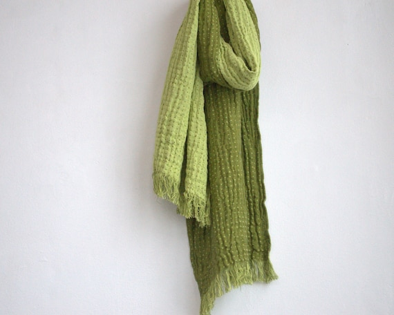 Scarf scarves women men Autumn Fashion green color natural linen cotton eco friendly
