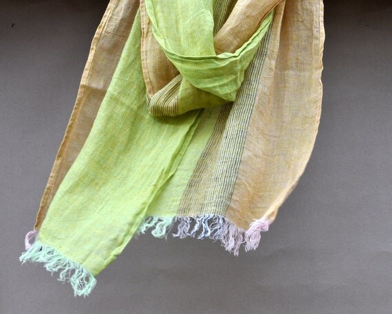 Scarf unisex natural linen green light brown yellow color