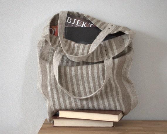 "Tote bag book bag everywhere strong natural linen bag 16""x 15"" Prewashed"