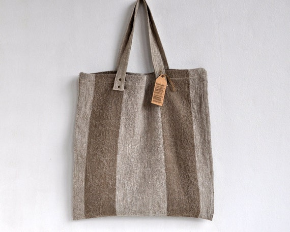 """Tote bag book bag everywhere strong natural linen bag 16""""x 15"""". Washed linen."""
