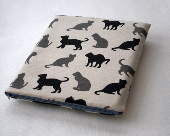 MacBook 13 Pro Case Laptop Sleeve Padded, Macbook Cover Macbook Pro Bag linen fabric black cats