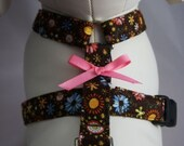 Adjustable Dog Harness - Brown Floral