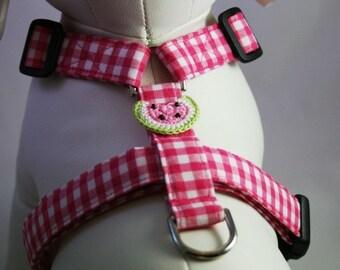 Dog Harness - Pink Gingham