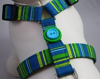 Dog Harness - Teal Stripes