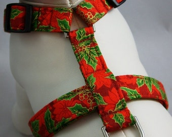 Dog Harness - Poinsettia & Holly