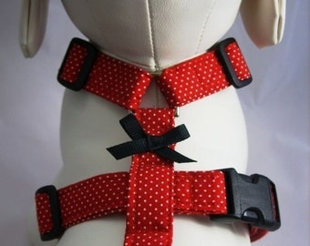Dog Harness - Red Pin Dot