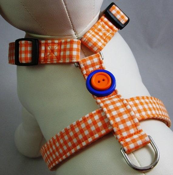 Dog Harness - Orange Gingham