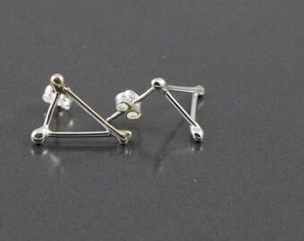 polished triangle stud earrings