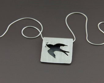 folded swallow pendant (brushed, sterling silver bird pendant)