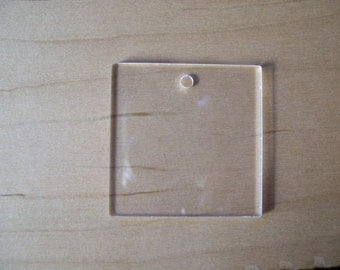 25 Blank Acrylic Key Chain Square 2 Inches, Great for vinyl applications