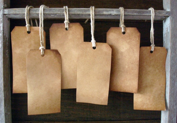 100 Large ViNTaGe INSPiReD Hang Tags BLANK Coffee Vanilla Primitive Soak Stained