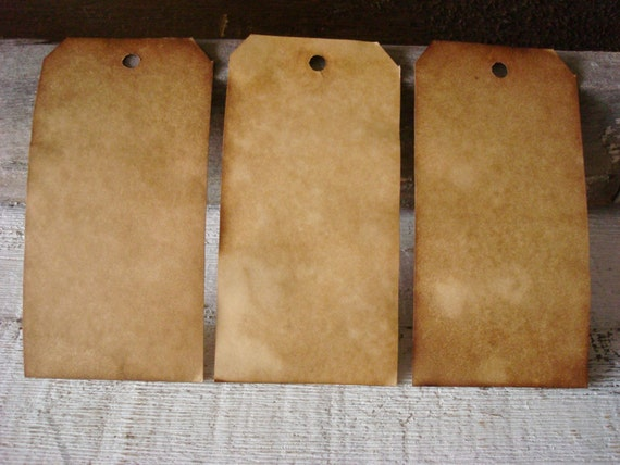 50 Large UNstrung ViNTaGe INSPiReD Hang Tags BLANK Coffee Vanilla Soak Stained NO STRINGS Attached