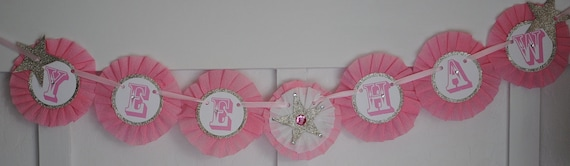 YeeHaw Rhinestone cowgirl banner-Birthday, country, western (Bubble gum pink)
