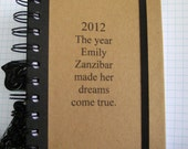 Personalized Notebook Journal Custom Name Dreams 2012 Handmade Paper Goods by Zany