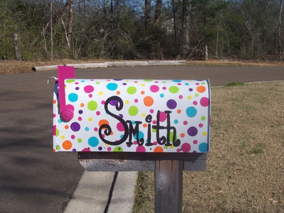 Funky Hand Painted Polka Dot Mailbox  Funky Painted Mailboxes