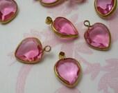 Vintage Swarovski Heart Shaped Rose Charms (8)