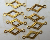 Brass Connectors - Vintage Tiny Diamond Shaped -75 pieces! LOWER PRICE!