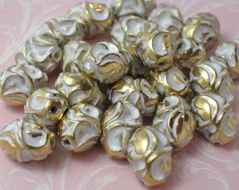 Vintage Lucite White and Gold Beads - 10-- ONLY 2 LOTS LEFT