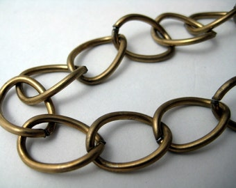 Raw Brass over Steel Large Link Chain (3 ft.)