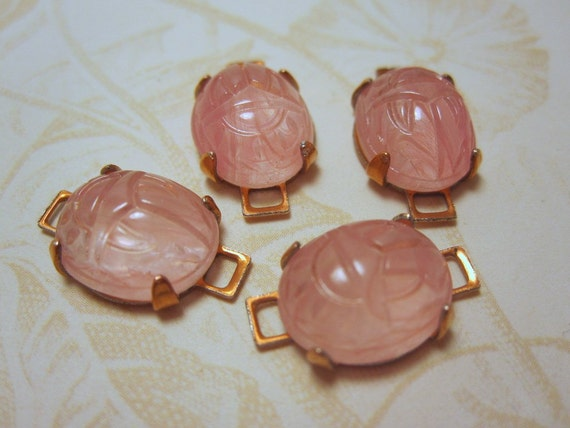 Scarab Glass Oval Connectors - Pink - 4