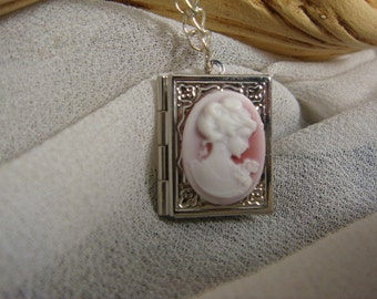 Rose Lady Book Locket Cameo Necklace