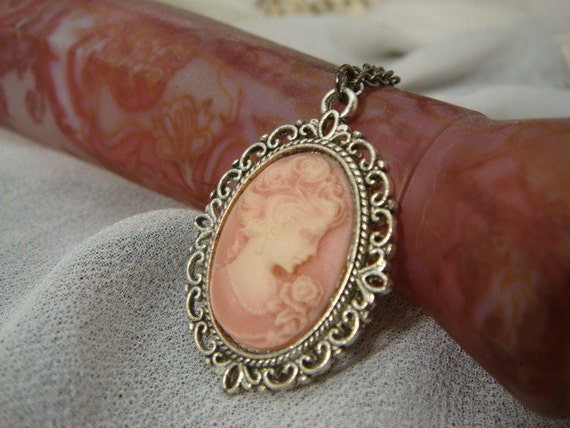 Pink Lady in Pewter Cameo Necklace