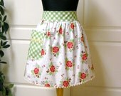 Vintage Half Apron, Red Flowers Green Check - Flair for Cooking Retro Half Apron