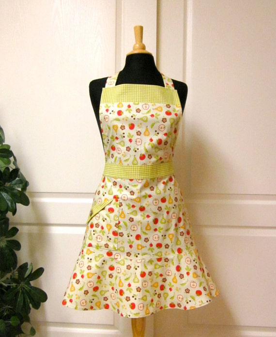 Flared Vintage Apron, Farmers Market Green Red Mustard - Flair for Cooking Hostess Apron