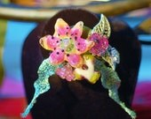 Floral Lampwork Brooch or Hat Pin accessory