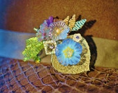Floral Lampwork glass and Hand Beaded Brooch or Hat accessory