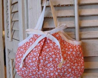 "little girl purse toddler handbag - coral floral ""Anne"" style"